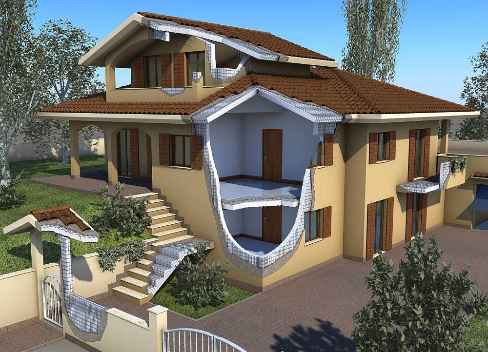 Монолитно-каркасный дом в разрезе