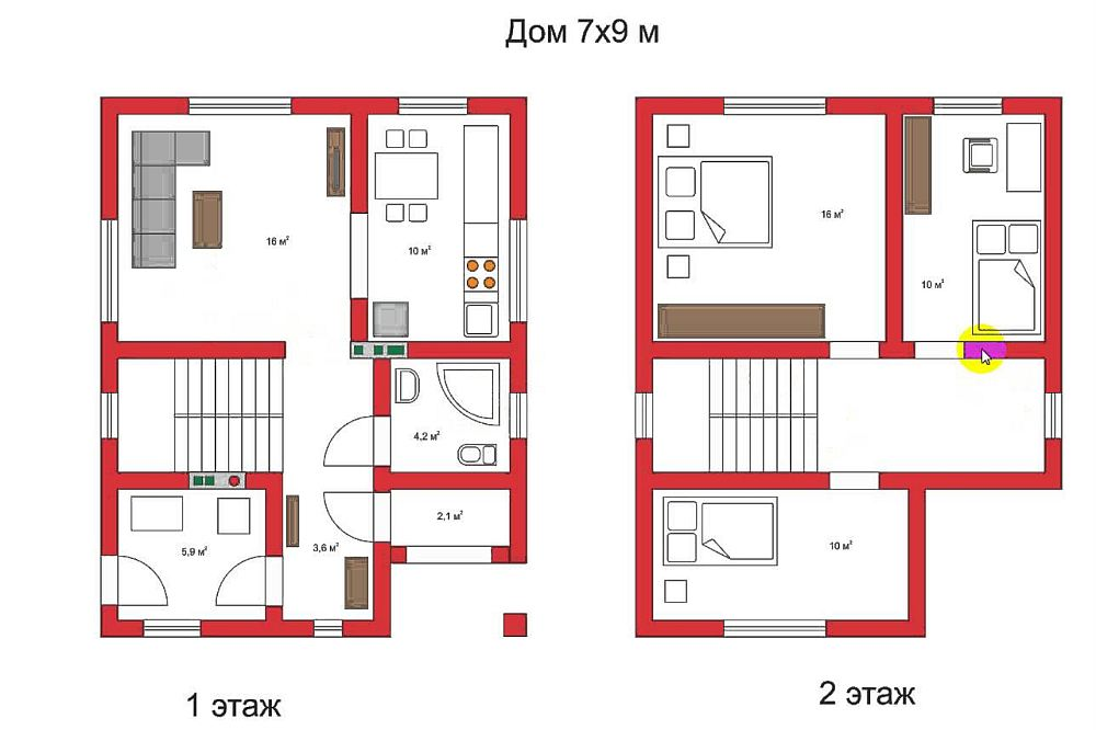 План дома 7x9 в два этажа