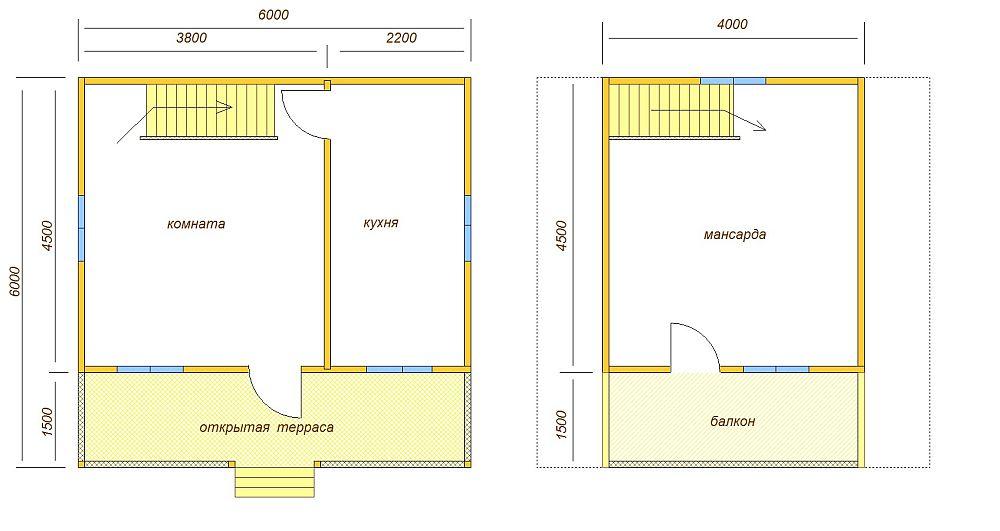 План дома с верандой и балконом