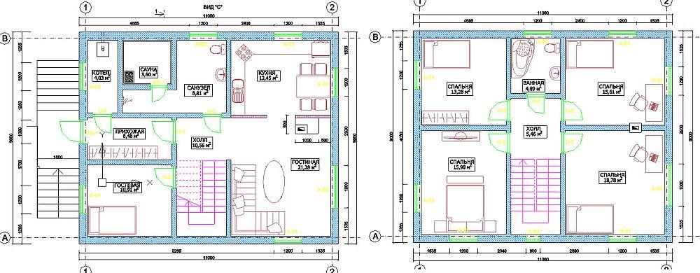 Чертеж двухэтажного дома