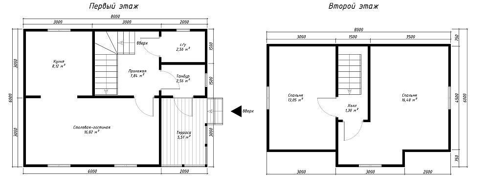 План каркасного дома, 1и 2 этажи