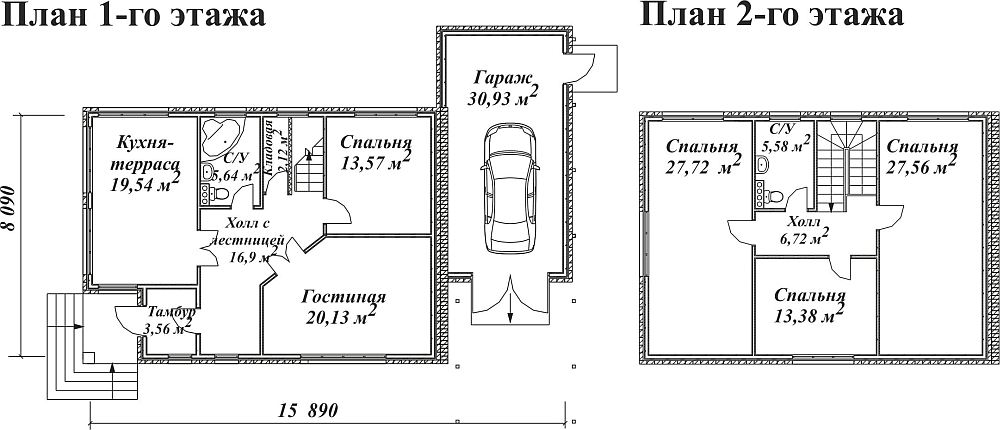 Планировка двухэтажного дома с гаражом