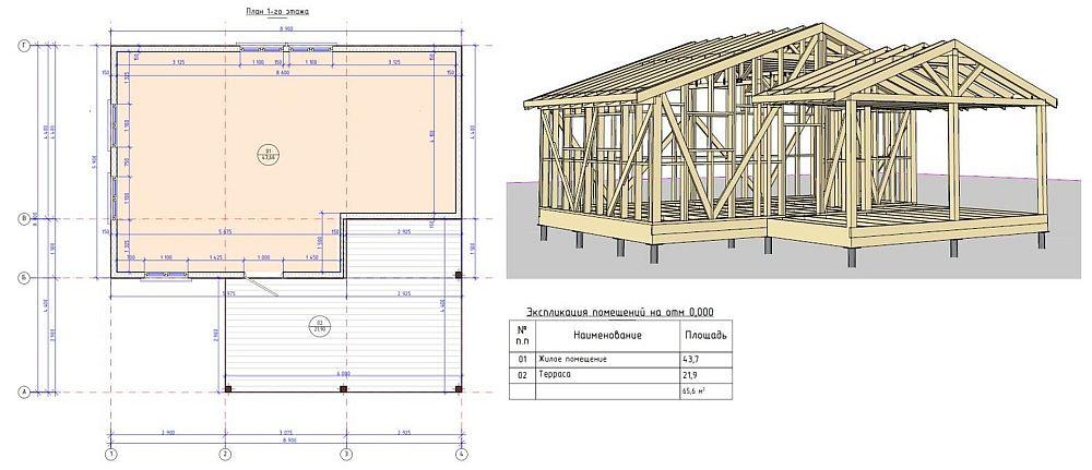 Пример чертежа каркасного дома