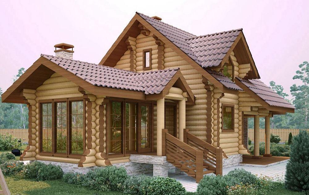 Современный каркасно-бревенчатый дом
