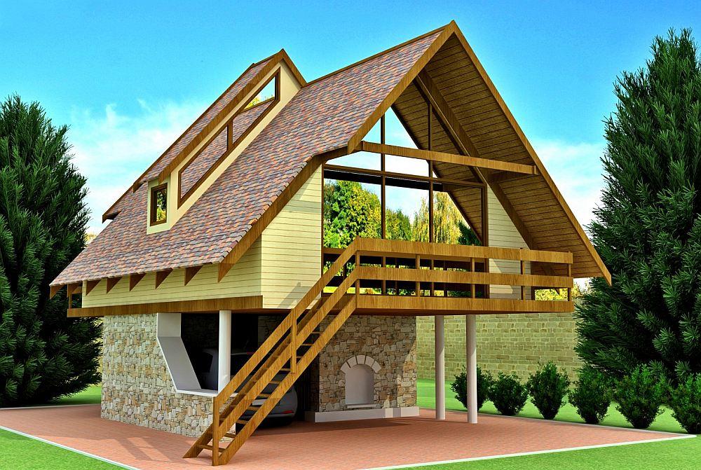 Оригинальный проект каркасного дома с навесом