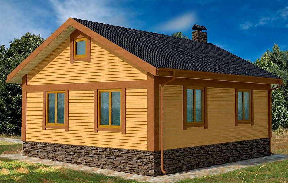 Одноэтажный домик с чердаком