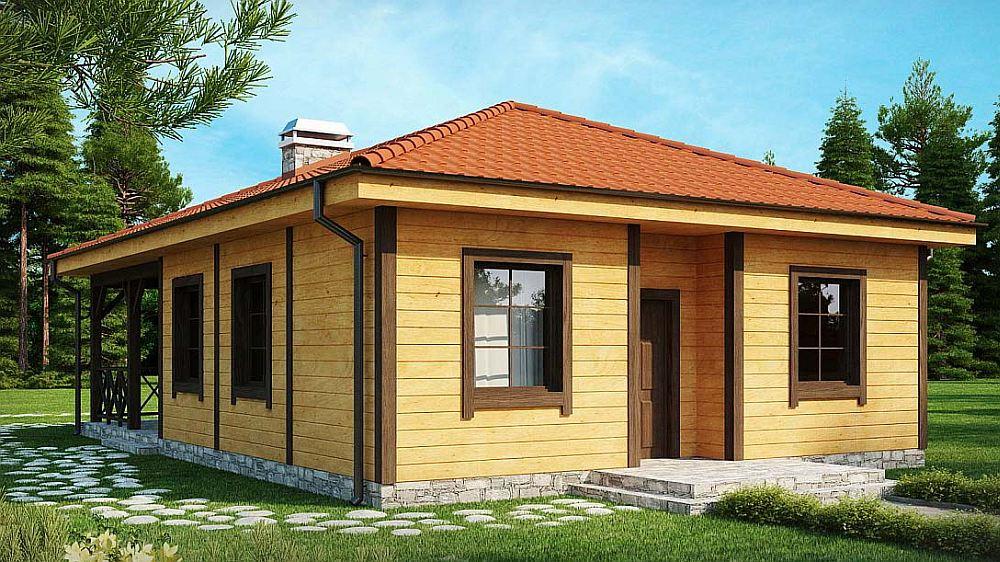 Проект одноэтажного каркасного дома с четырехскатной крышей