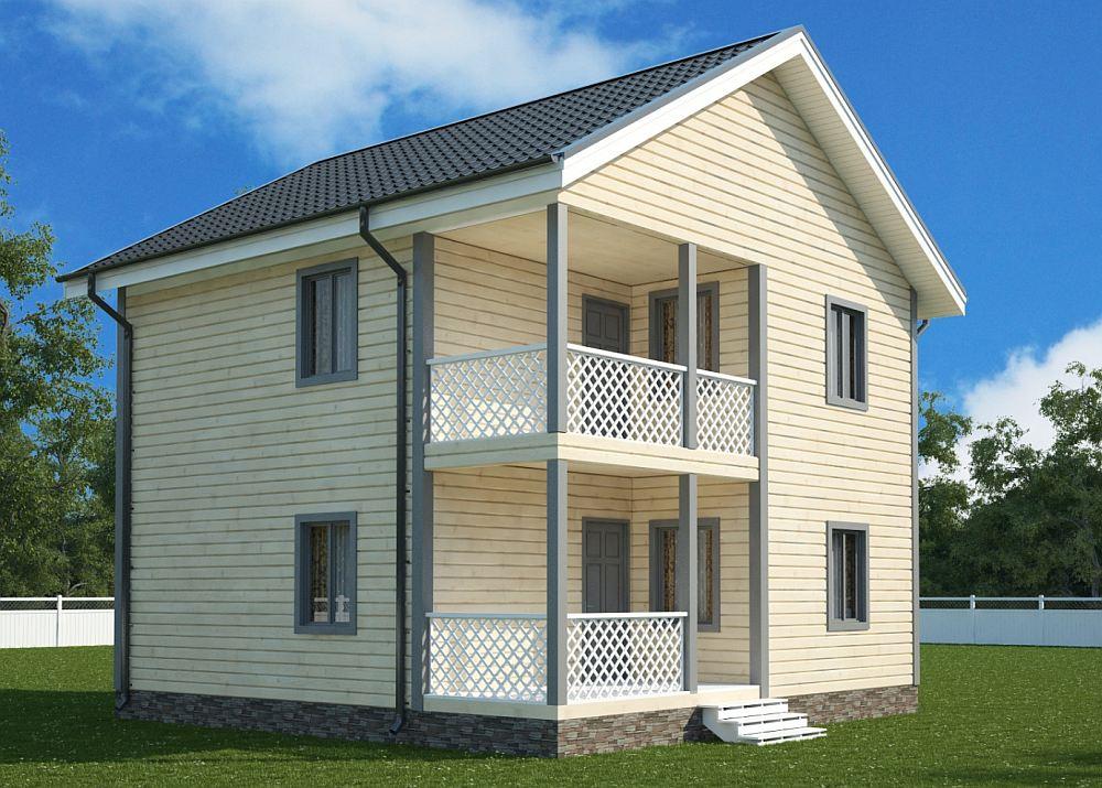 Двухэтажный домик классической формы