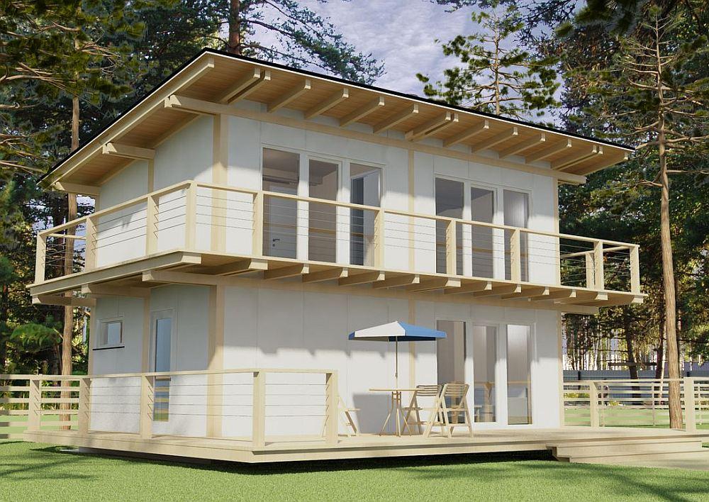 Дачный проект с односкатной крышей