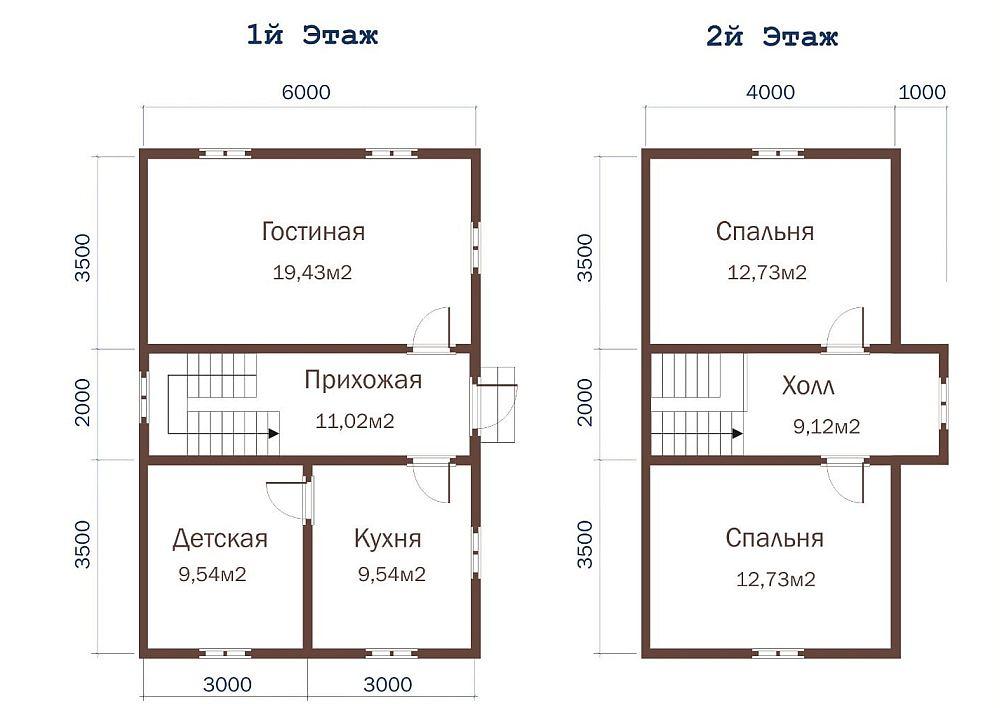 Планировка двухэтажного дома 6*9