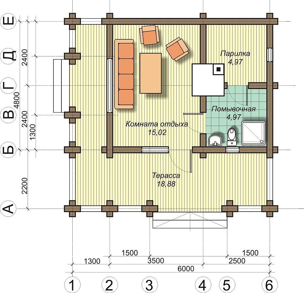 План бани с санузлом, комнатой отдыха и террасой