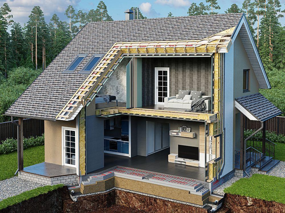 Утепленный каркасный дом