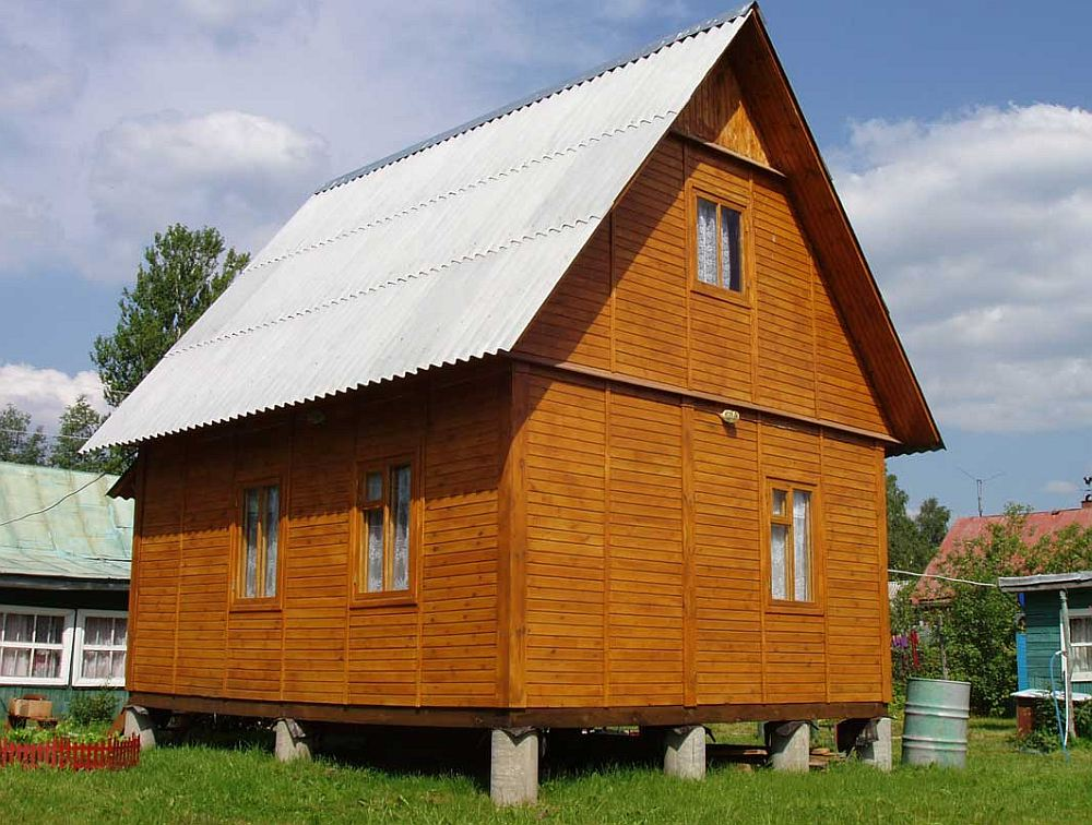 Каркасный дом на столбчатом фундаменте