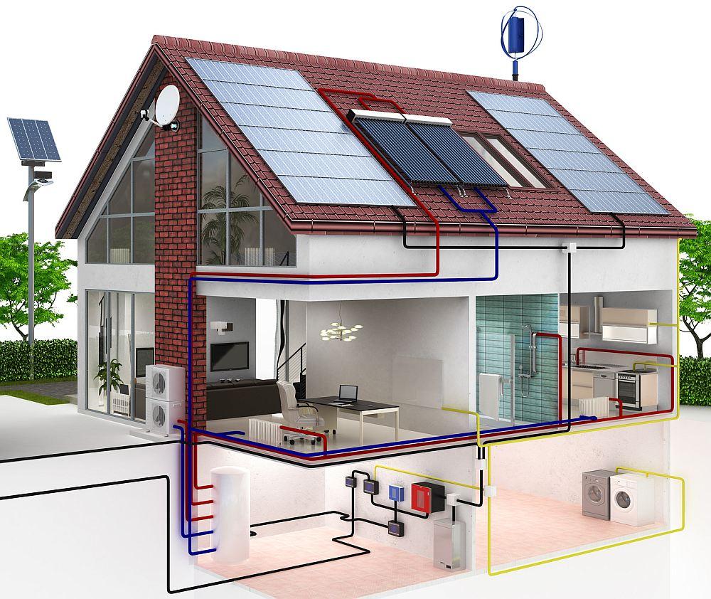 Комбинированная система отопления с солнечными батареями