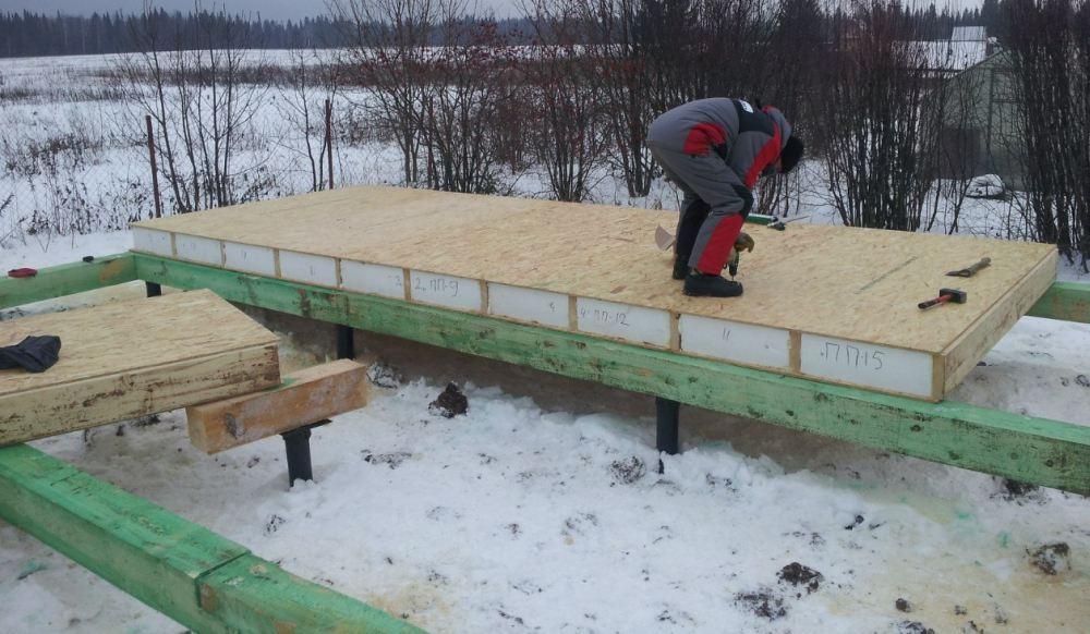 Укладка панелей на фундамент