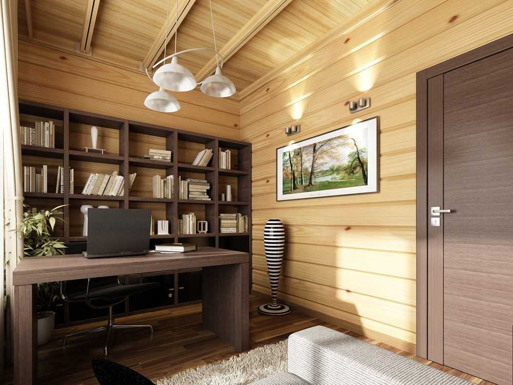 Разноуровневое освещение в деревянном доме