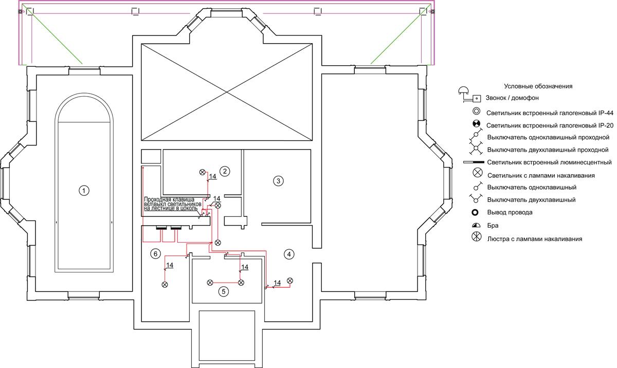 Примерная схема освещения в деревянном доме