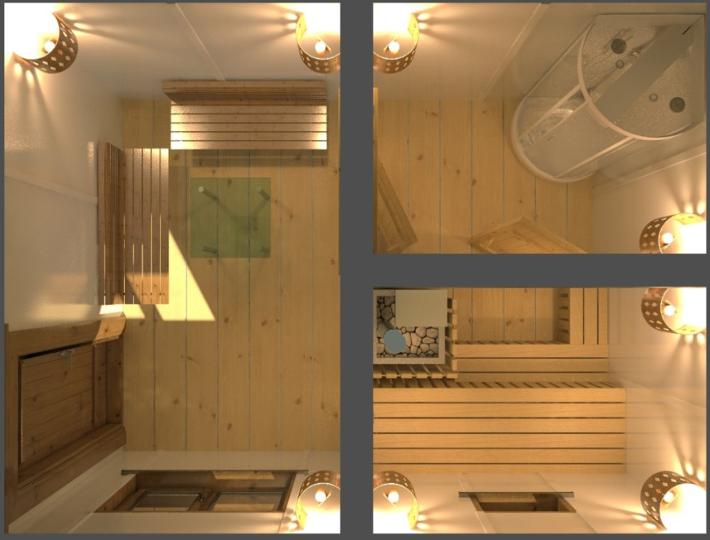 Проект бани с душевой кабиной