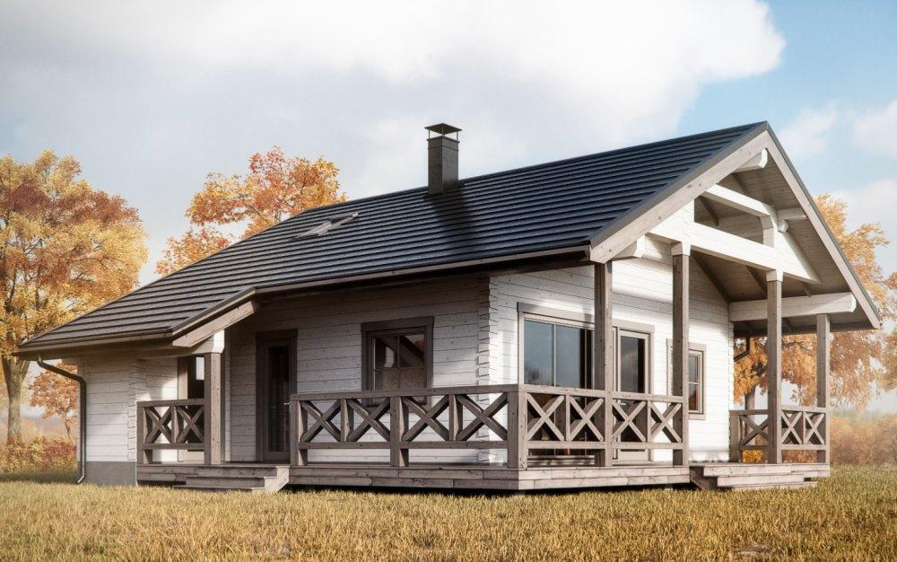 Проект каркасного дома с террасой