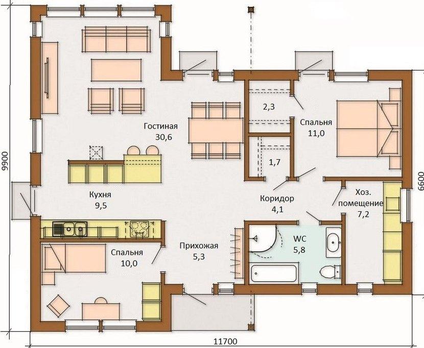 Проект финского дома одноэтажного